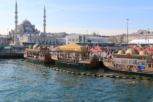 Leaving Galata Bridge for the Bosphorus tour cruise at Istanbul, Turkey