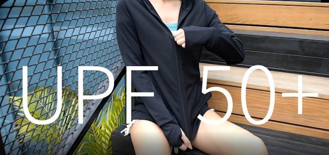 特殊涼感抗UV布料,可阻擋紫外線並保持涼爽舒適。袖子選用高防透性鈍光紗,內含抗UV奈米級微陶瓷粒子,能反射紫外線,抗UV效果更佳,使肌膚遠離曝曬!