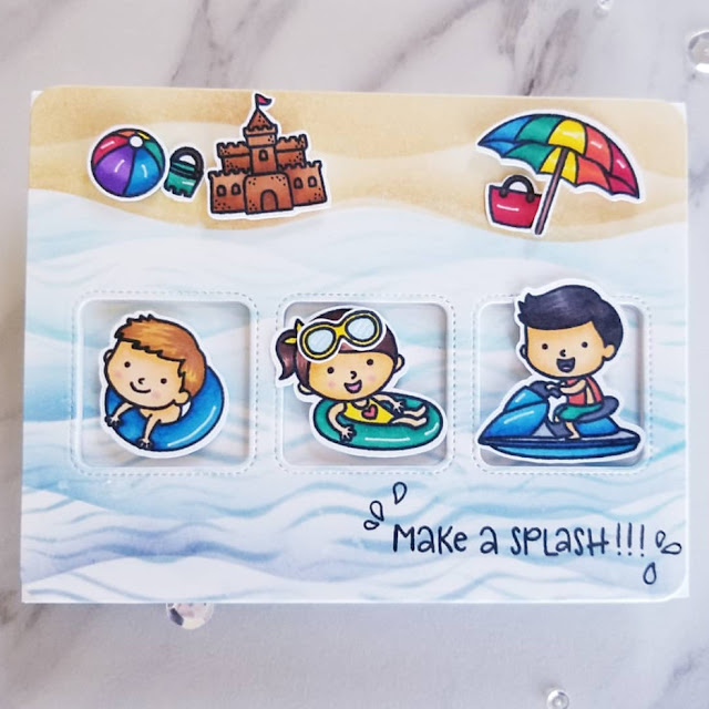 Sunny Studio Stamps: Beach Babies Window Trio Dies Customer Card Share by Ana A