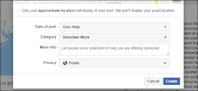localizzazione richiesta aiuto emergenze facebook