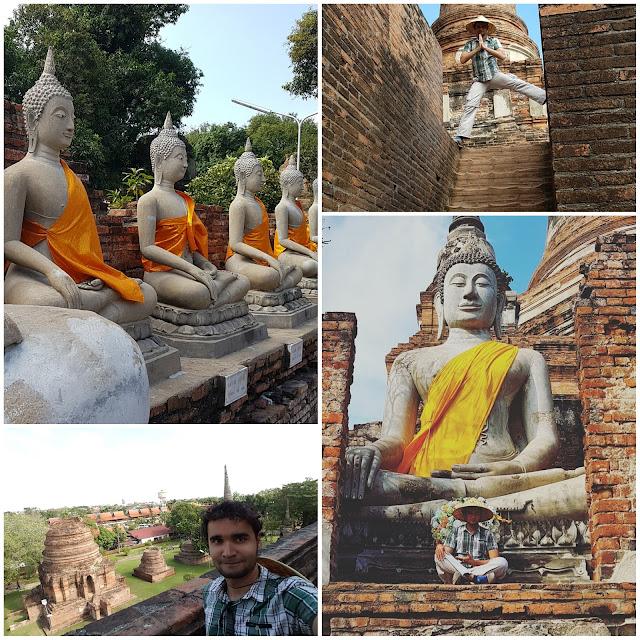 Visões da Wat Yai Chai Mang Khon, em Ayutthaya.
