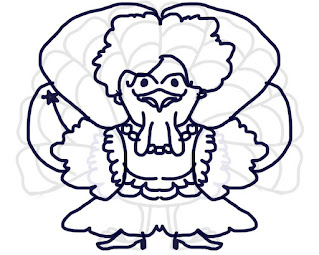 Student drawing of a turkey disguised as a fairy