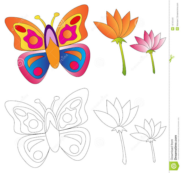 Butterfly  Flowerscoloring Book