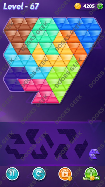Block! Triangle Puzzle 9 Mania Level 67 Solution, Cheats, Walkthrough for Android, iPhone, iPad and iPod