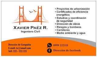 Tarjetas de visitas para ingeniero civil