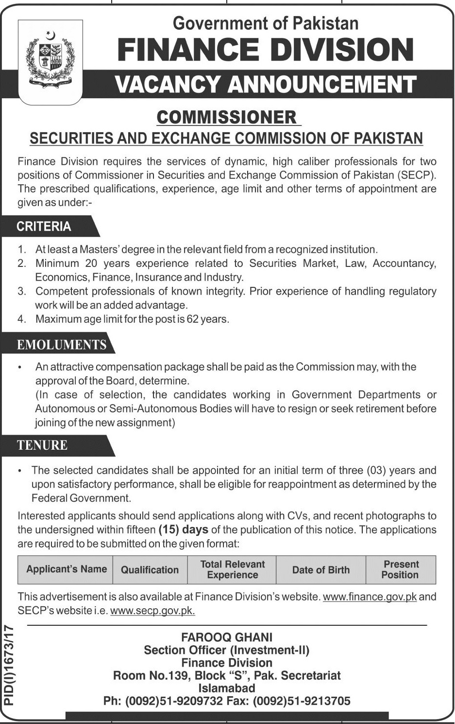 jobs in finance division islamabad