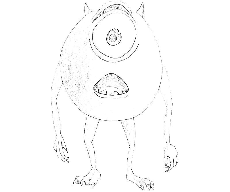 Monsters inc mike wazowski cute mario for Mike wazowski coloring page