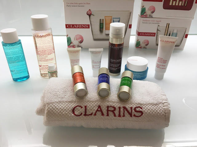 A range of Clarins skin care products on a white background