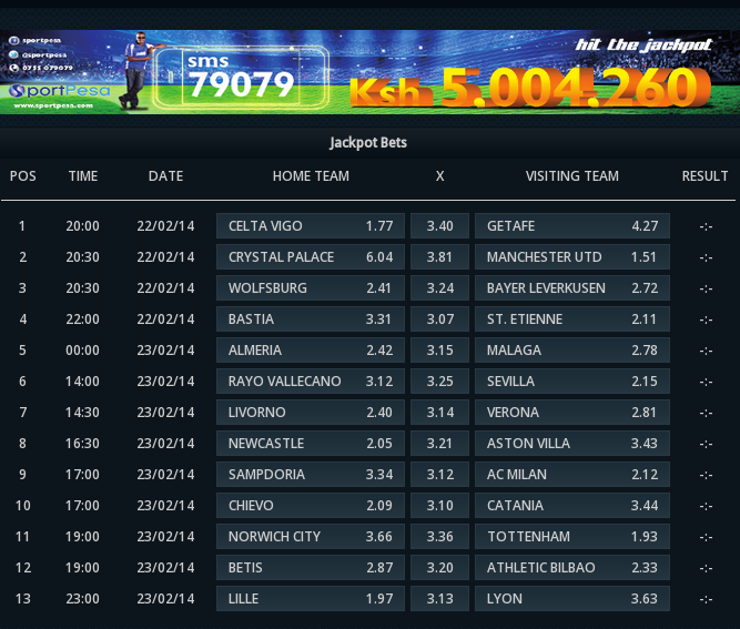 Sportpesa Get in the Game: Multibet, Results, Account ...