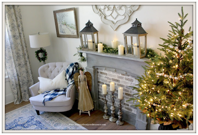 French Country-French Farmhouse-Christmas-Bedroom-Faux-Fireplace-Santos-Cage-Doll-From My From Porch To Yours