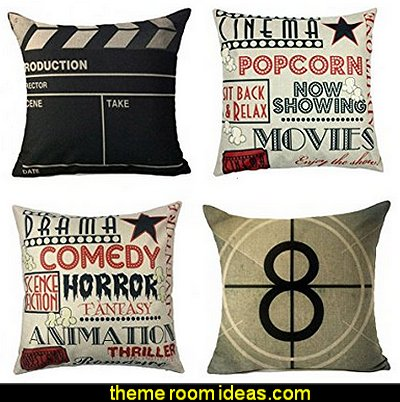 Movie - Cinema Throw Pillows  Movie themed bedrooms - home theater design ideas - Hollywood style decor - movie decor -  Film decor - home cinema decor - movie theater decor - Home Theater Curtains - cabinet knobs movie theater - movie themed decorating ideas - movie props - designing a home theater room -  decorating home theater ideas -