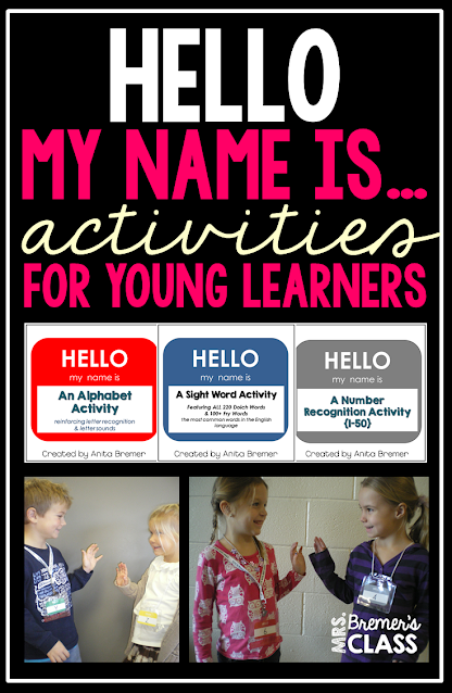 Hello My Name Is... activities to practice the alphabet, number recognition, and sight words in Kindergarten