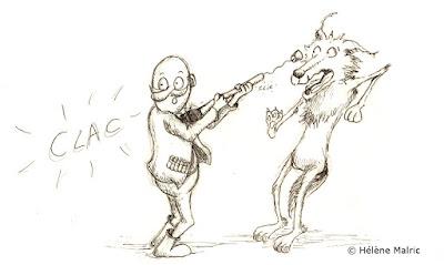 chasseur loup 'espèce protégée' illustration encre