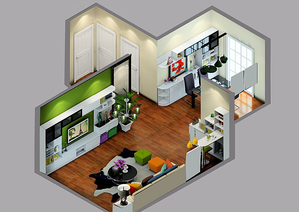 1%2B3D-sky-view-of-living-room-TV-wall-in-green 35 Sky View 4D American House Plan Styles Interior