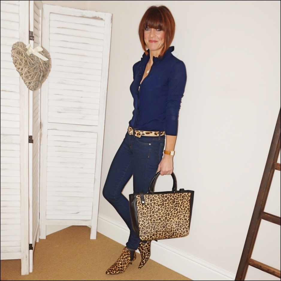 my midlife fashion, j crew merino wool ruffled cardigan, j crew 8 stretchy toothpick jean in classic wash, radley witley faux leopard print leather open top tote bag, hush rye boots, gray and osborn leopard print belt