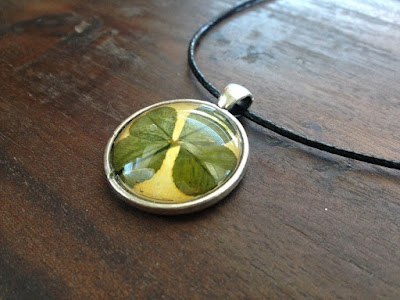 handmade genuine four-leaf clover necklace
