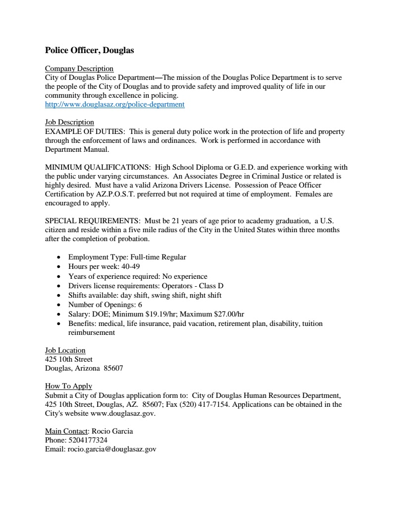 Douglas Police Department Is In Need Of At Least 6 Police Officers.