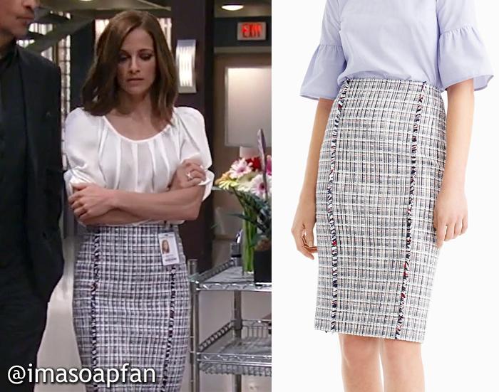 Hayden Barnes, Rebecca Budig, Tweed Pencil Skirt, J. Crew, GH, General Hospital, Season 55, Episode 05/12/17