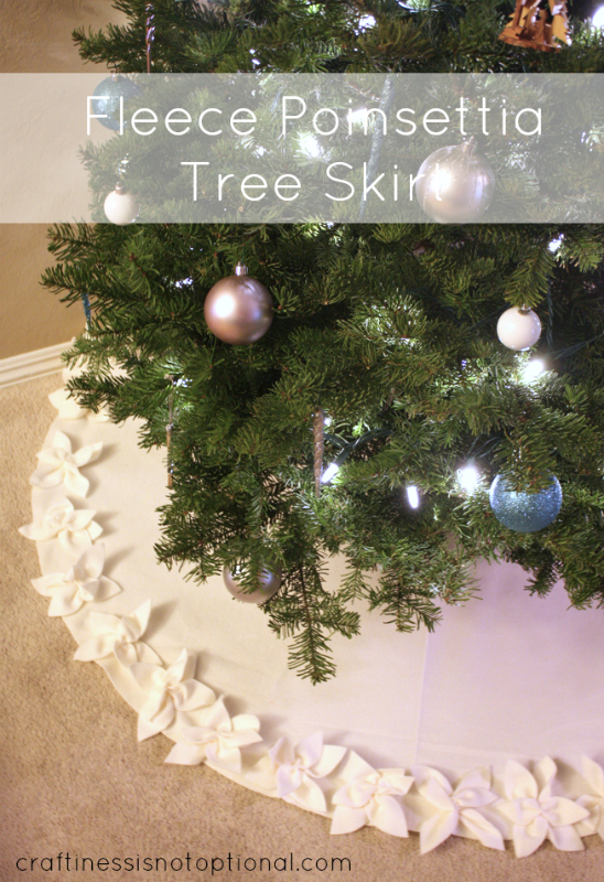 """""""Pointsettia Tree Shirt Tutorial"""" is a Free Tree Skirt Pattern designed by Jessica from Craftiness is not Optional"""