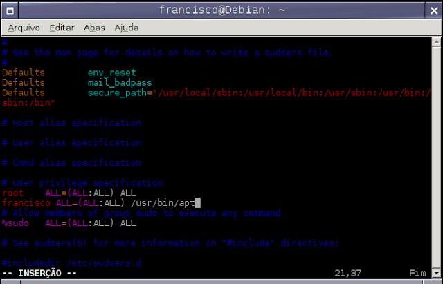 Como colocar o usuário no arquivo sudoers no Debian