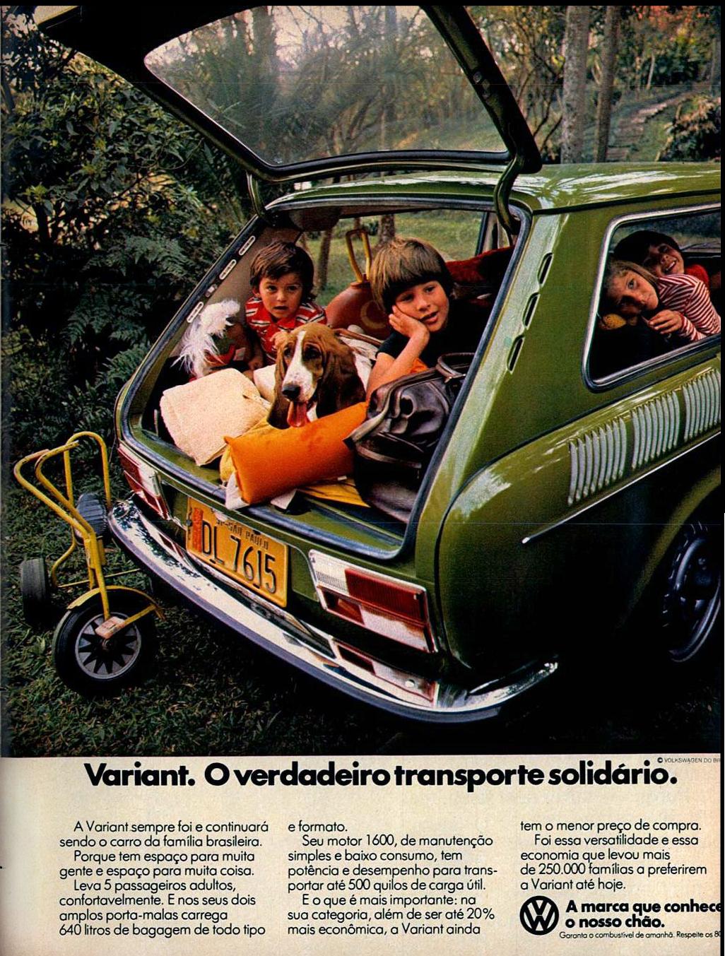 Campanha da Volkswagen para promover a alta capacidade interna da Variant nos anos 70