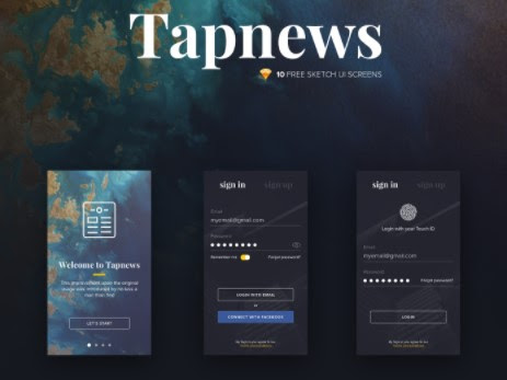 Download Tapnews Mobile UI Kit Free