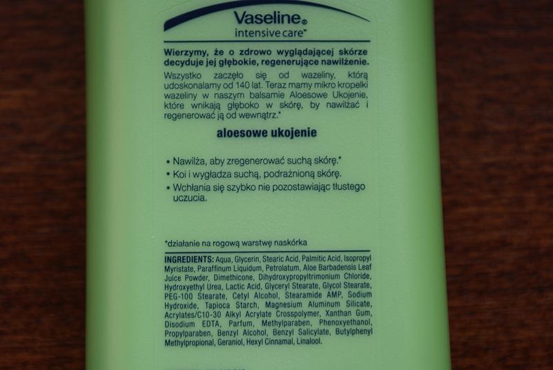 Vaseline, balsam do ciała, aloe soothe (aloesowe ukojenie) skład