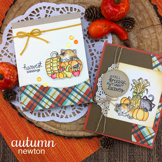 Fall Harvest Cards with Cats by Jennifer Jackson |  Autumn Newton Stamp Set by Newton's Nook Designs #newtonsnook #handmade