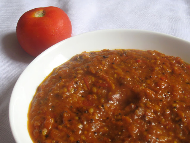 Smooth, spicy south Indian style tomato chutney suitable for serving ...
