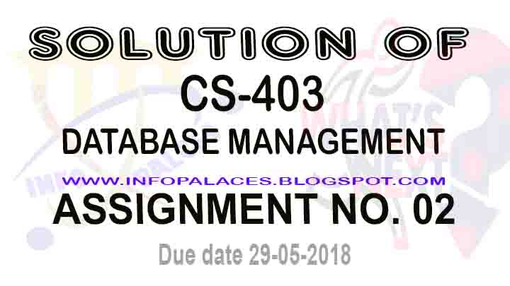 Solution of CS403 Assignment NO 2 Spring 2018 Database