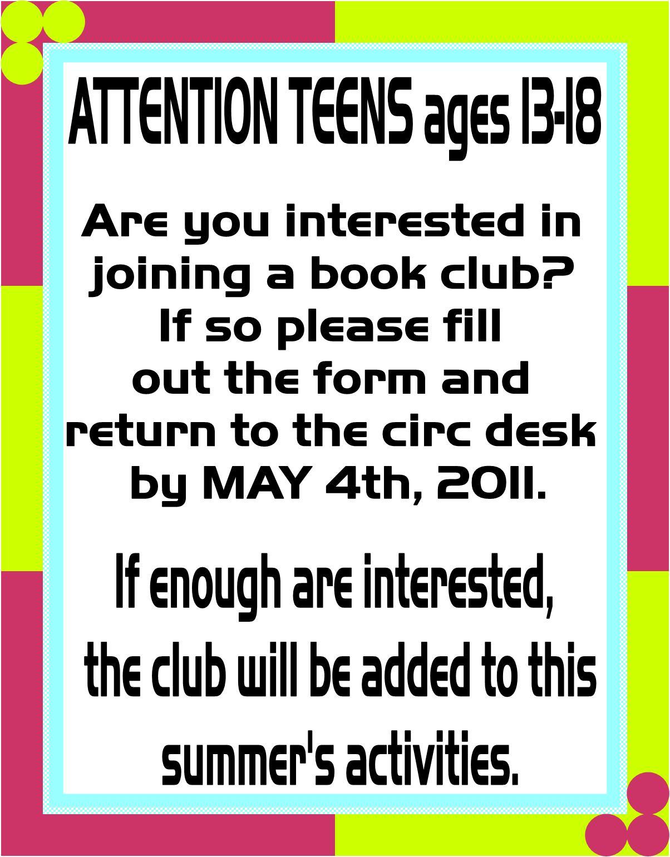 Teen Blog Teen Library Club 44