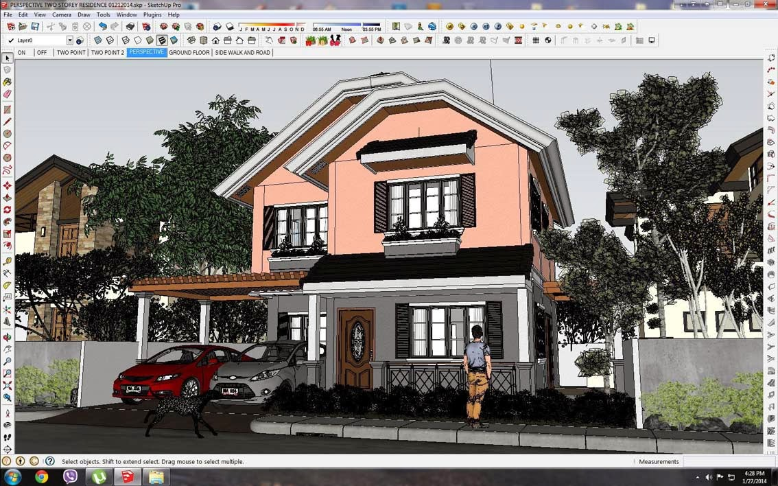 Sketchup 3d model small modern villa 12 vray sketchup tut for Model villa moderne