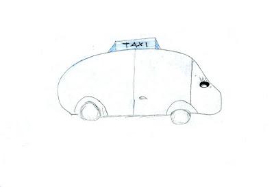 desenho a grafite de um taxi bebé