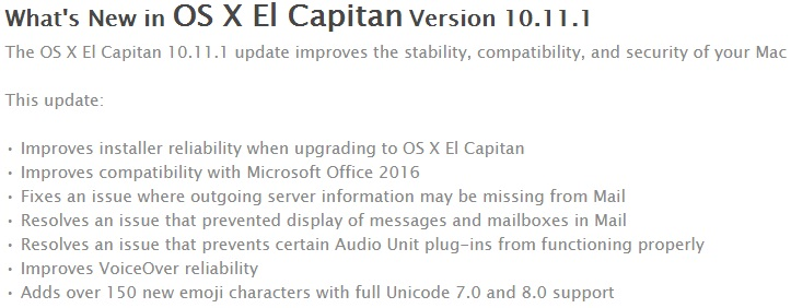 Mac OS X El Capitan 10.11.1 Changelog
