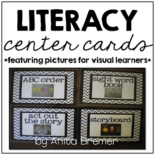 How to Organize Literacy Center Rotations using Visual Cards