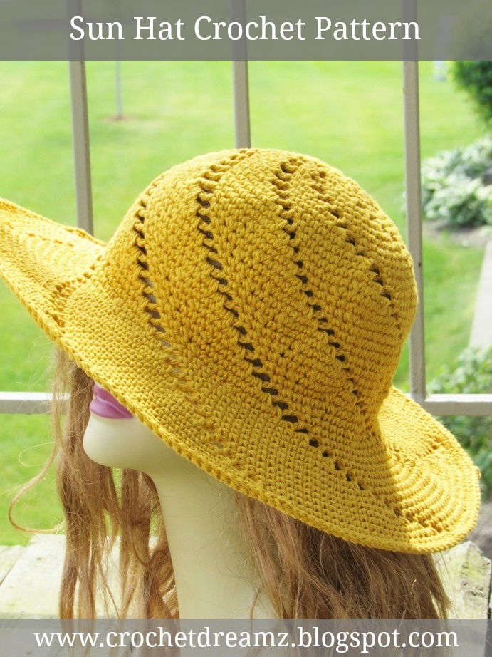 Crochet Pattern Sun Hat : Crochet Dreamz: Sunsational Sun Hat, Crochet Pattern