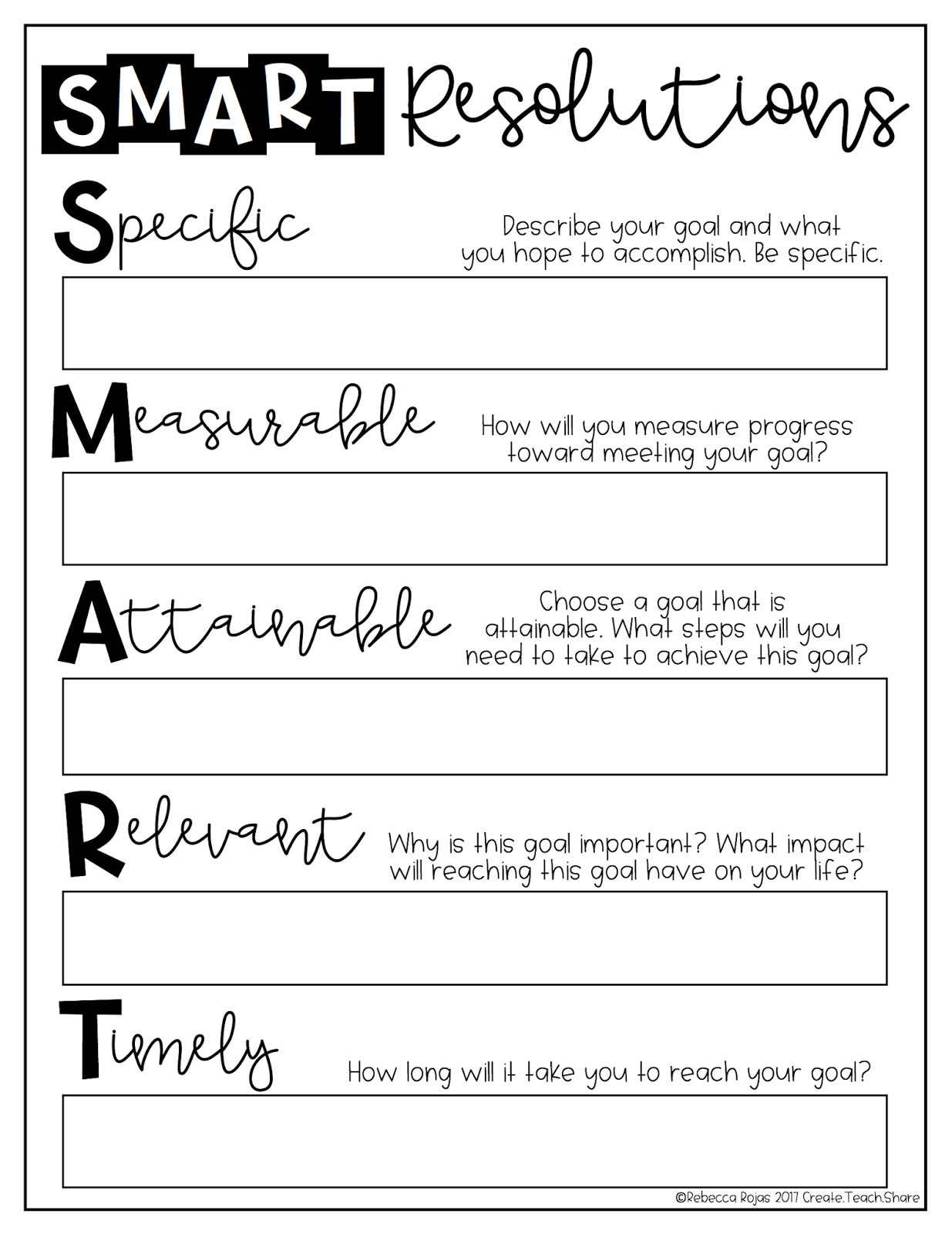 Upper Elementary Snapshots Writing Smart Resolutions For