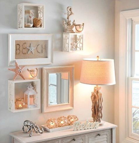Coastal shell starfish wall cube shelves completely for Coastal wall decor ideas