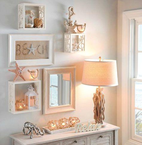 Coastal Shell & Starfish Wall Cube Shelves - Coastal Decor ...