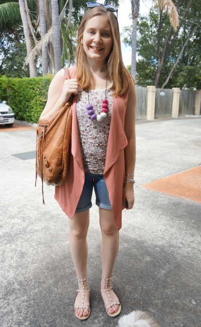 floral lace tank bermuds denim shorts pink pastel sleeveless drape jacket vest | AwayFromBlue