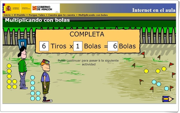 """""""Multiplicando con bolas"""" (Internet en el Aula)"""