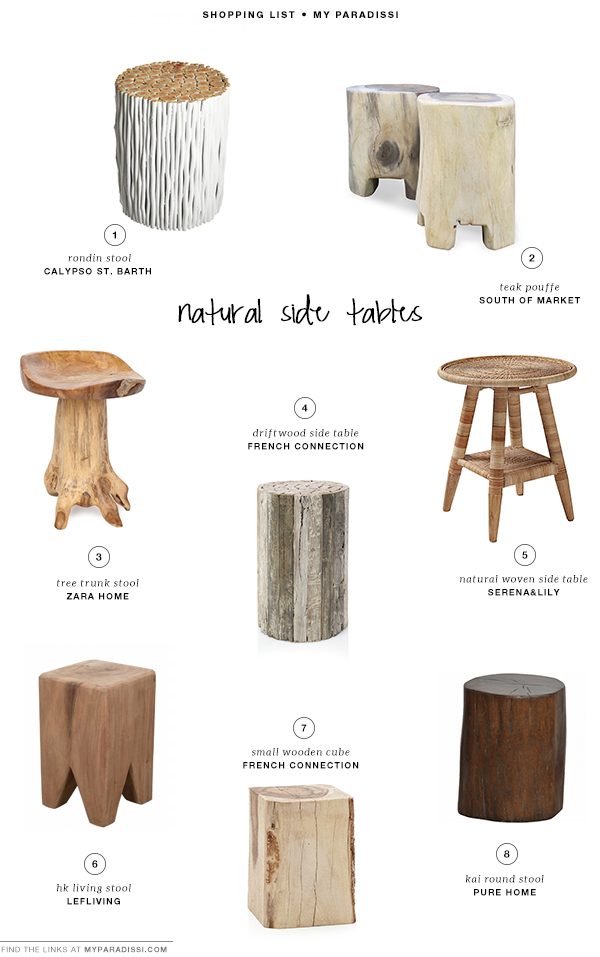 Natural side tables shopping list | My Paradissi