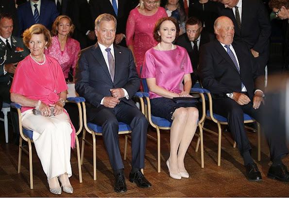 President of Finland Sauli Niinisto and his wife Jenni Haukio, Queen Sonja and King Harald style fashions