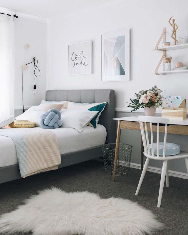 Trucos para decorar dormitorios de adolescentes, dormitorio femenino con pequeña zona de estudio