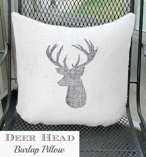Deer Head Burlap Pillow www.lovegrowswild.com #diy #pillow #burlap #deer