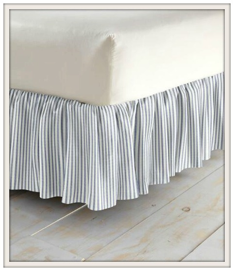 Master Bedroom-New House-Makeover-Navy-Ticking Stripe-Bedskirt-From My Front Porch To Yours
