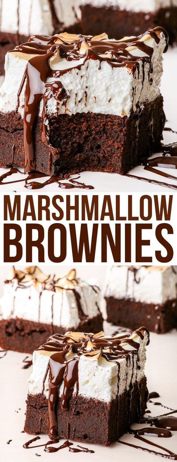 Delicious Marshmallow Brownies - Gluten Free and Dairy Free | best brownie recipe | easy brownie | chocolate pudding brownies | mini brownie cupcakes | brownie recipes best | cake brownie recipes | brownie decorating ideas | brownie dessert recipes | brownie cake recipe | healthy brownie recipe | best fudge brownie #browniesrecipe #brownies #marshmallow #dessert #glutenfree #dairyfree