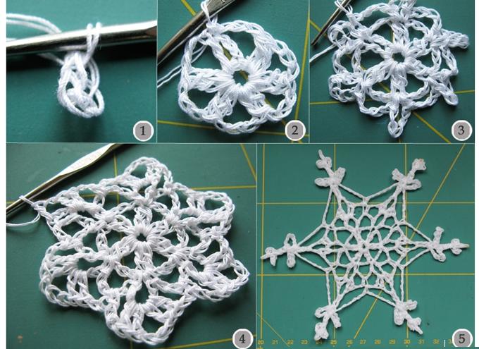 copo de nieve, copo tridimensional, hogar, fiestas, patrones,crochet