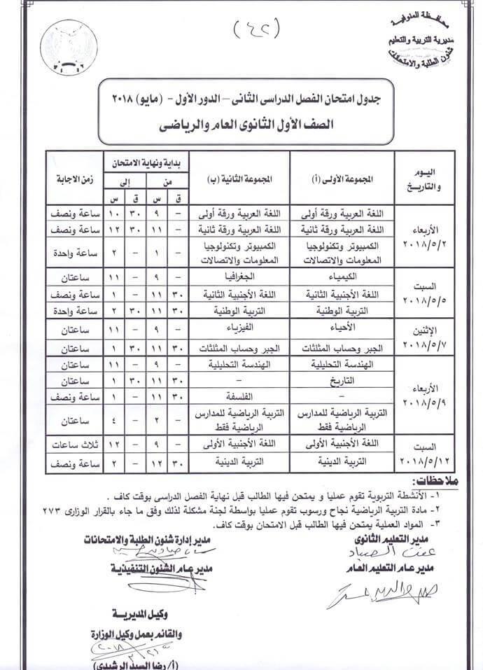 جدول امتحانات الصف الأول الثانوي 2018 الترم الثاني محافظة المنوفية