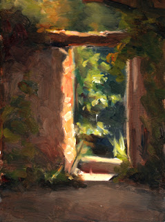 Oil painting of a gateway in a stone wall with a wooden lintel.